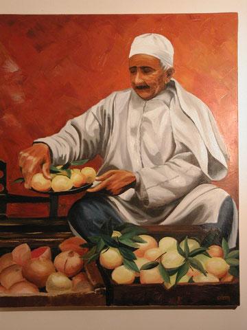 Vendeur de citrons, huile sur toile 54x73, 2001(vendu)