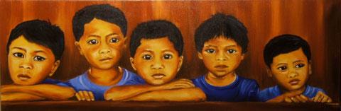 petits colombiens, huile sur toile 50X100, 2004 (vendu )