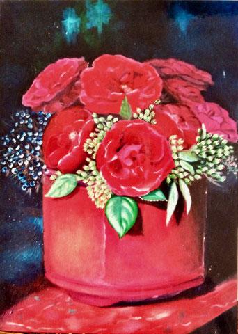 bouquet rouge, huile sur carton toilé, 2002 (vendu )
