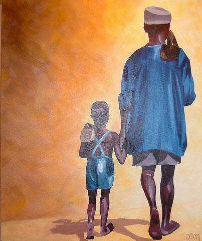 Père et fils, huile sur toile 50X73, 2002 (vendu )