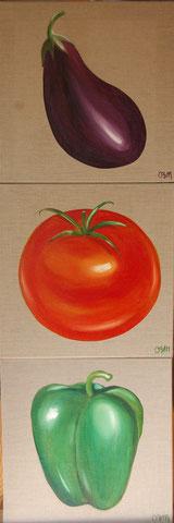 Légumes du soleil, 3 huiles sur toile 50X50, 2013