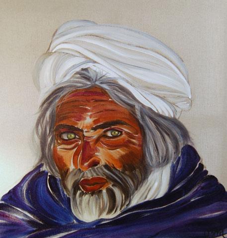 Afghan aux yeux verts, huile sur toile de lin brut 60x60, 2008