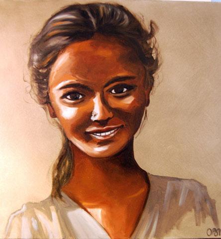 Jeune Indienne, huile sur toile 50x50, 2008 (vendu)