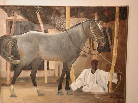 Marocain et son cheval, huile sur toile 65x81, 2001 (vendu)