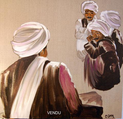 Palabres, huile sur toile 60x60, 2007 (vendu)