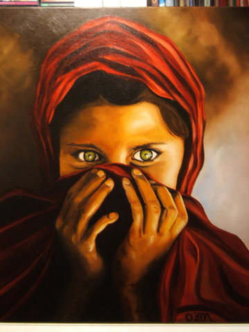 Jeune Afghane, huile sur toile 54x65,  2006 (vendu)