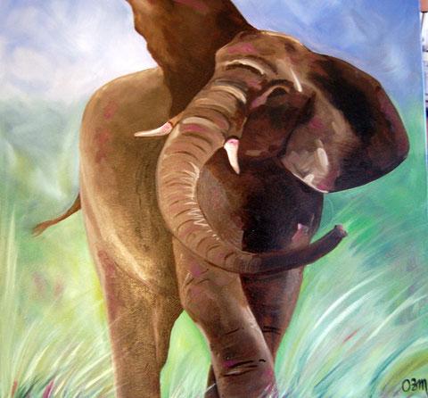 Éléphant dans la savane, huile sur toile 60x60, 2006 (vendu)