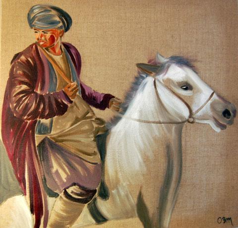 Le cavalier, huile sur toile 60x60, 2007