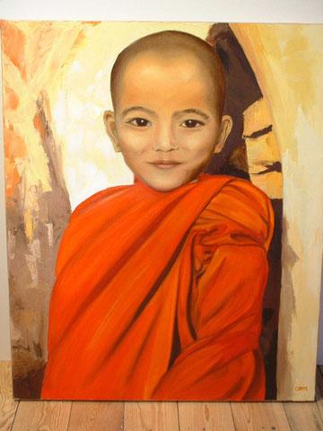 Petit bouddhiste, huile sur toile, 2003 (vendu)