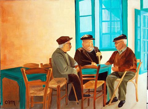 Café grec, huile sur toile 54x73,2003