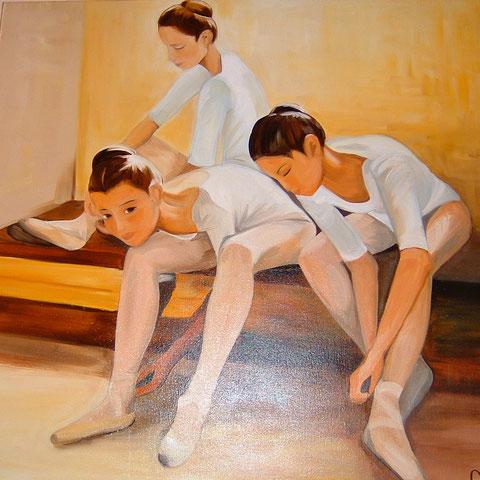 Les danseuses, huile sur toile 80X80, 2003 (vendu )