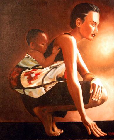 Femme au bébé, huile sur toile 73x60, 2000 (vendu)