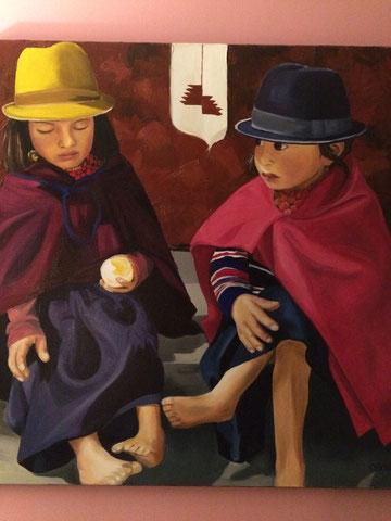 Petites Péruviennes, huile sur toile 80X80, 2003 (vendu )