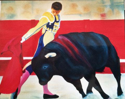 Corrida, huile sur toile, 2001 (vendu )