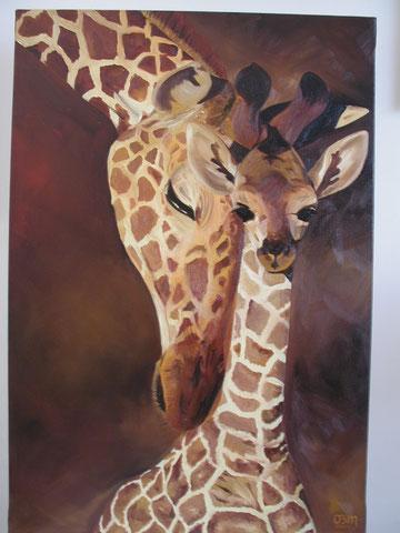 Girafes, huile sur toile 40x60, 2002 (vendu)