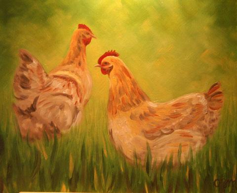 Poules, huile sur toile 50x65, 2006 (vendu)