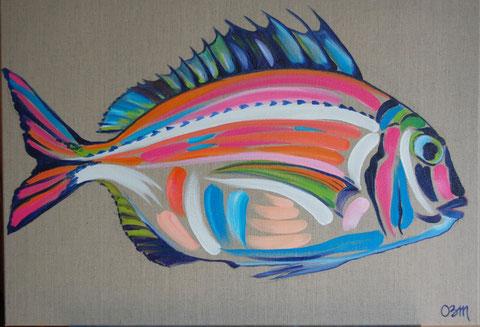 Poisson, huile sur toile de lin brut 50x70, 2009