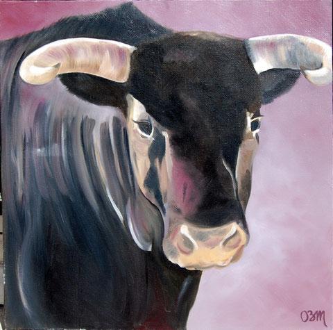 Le taureau, huile sur toile 60x60, 2005 (vendu)