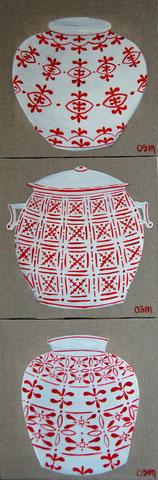 Chinoiseries rouges, huile sur lin brut 40 x40, par 3 (vendus)