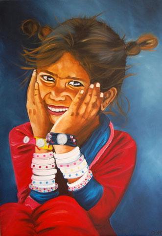 Fillette aux bracelets, huile sur toile 92 x 65, 2010 (vendu)