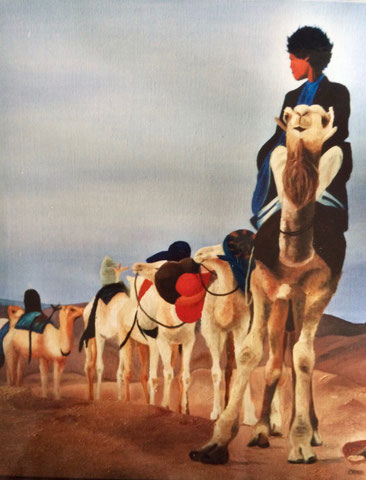 Caravane, huile sur toile 54X73,2001 (vendu)