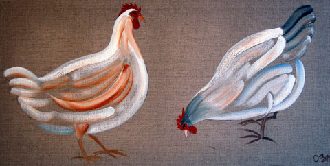 2 poules blanches, huile sur toile 30x50, 2008 (vendu)