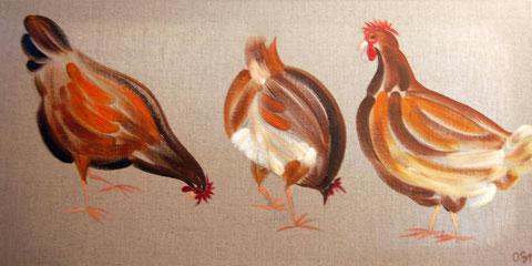 3 poules,  huile sur toile 30x60, 2007(vendu)