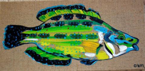 poisson fluo, huile sur toile 20 x 40, 2008 (vendu)