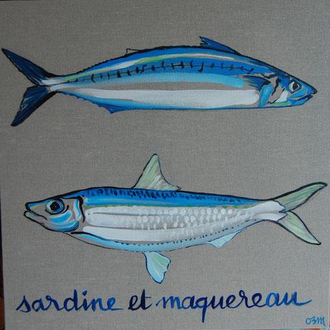 Sardine et Maquereau, huile sur lin brut 50x50, 2010 (vendu)