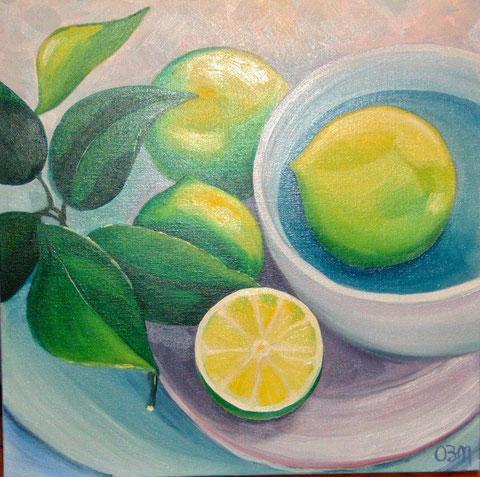 Citrons, huile sur toile 50X50, 2005 (vendu )