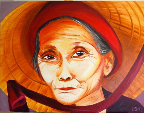 Vieille chinoise au chapeau, huile sur toile 50 x 65, 2010 (vendu)