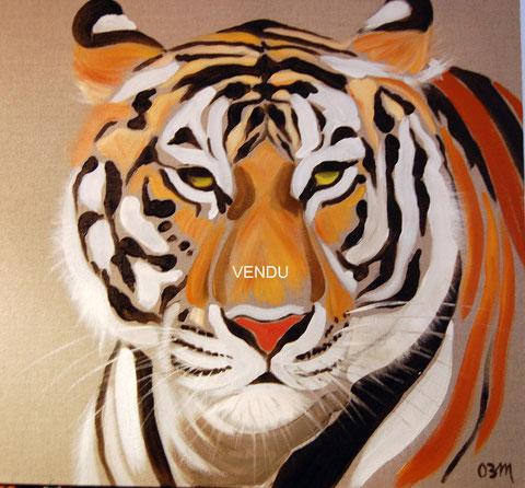 Tigre, huile sur toile 50x50, 2008 (vendu)