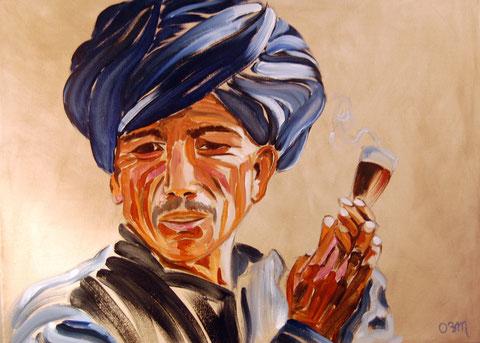 Le fumeur, huile sur toile 54x73, 2007 (vendu)