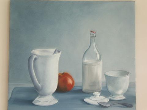 Nature morte blanche, huile sur toile 60x60, 2005