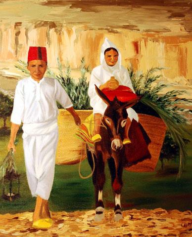 Petits marocains avec l'¨âne, huile sur toile 54x65, 2003 (vendu)