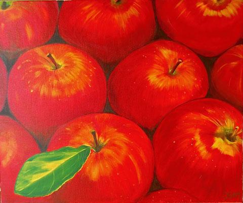 Pommes rouges, huile sur toile 50X60, 2012