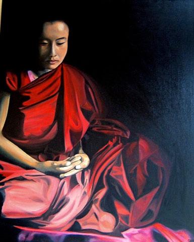 Moine bouddhiste, huile sur toile 61X73, 2002 (vendu )