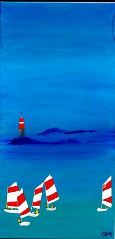 Sortie en Optimist, huile sur toile 40 x 80, 2010 (vendu)