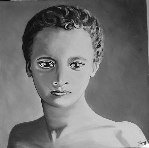 portrait d'enfant noir et blanc, huile sur toile 60X60, 2011