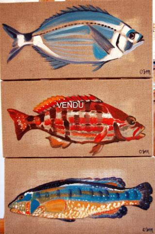 Poissons 2, huiles sur toiles 20x40, 2008 (vendus)