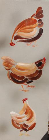 Poules verticales, huile sur toile 30x80, 2009 (vendu)