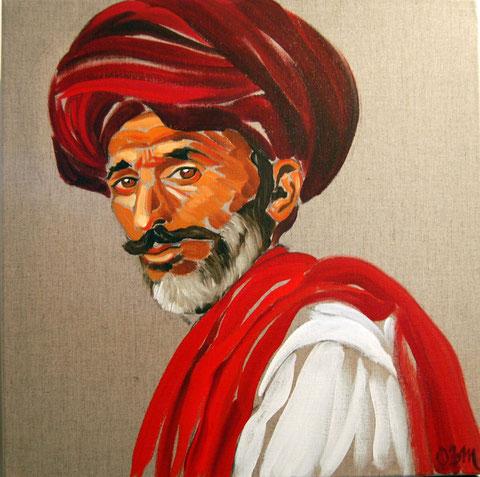 Le turban rouge, huile sur toile 60x60, 2008 (vendu)