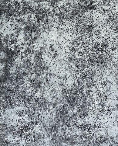 o.Titel, Kunstfelldruck mit Gouache auf Leinwand