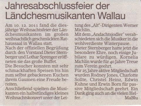 Bericht im Erbenheimer Anzeiger 23.12.2011