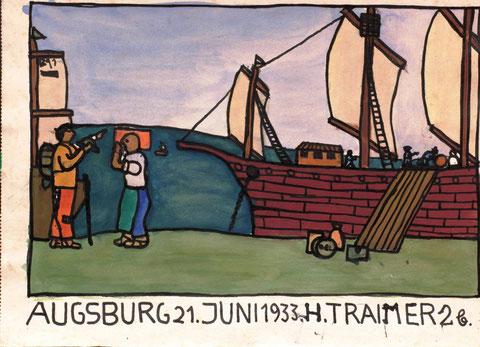 (Elf Jahre alt). Grafik im Buch-Illustrations-Stil um 1900. Starke schwarze Konturlinien und eine große Flächigkeit. Fast schon ein Plakat.
