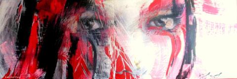 Face / 1,58 m x 0,54 m / Kollage + Acryl auf Holz