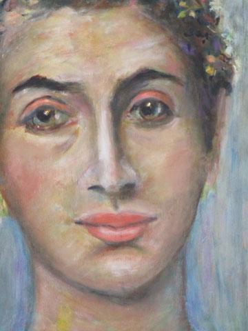 Mumienportrait mit Perlen im Haar, 2015, Öl/Holz 36 x32 cm (Ausschnitt)