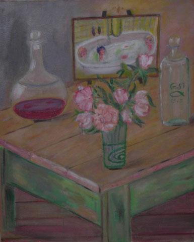Stillleben mit Badeszene, 2008, Öl/LW 50x40 cm