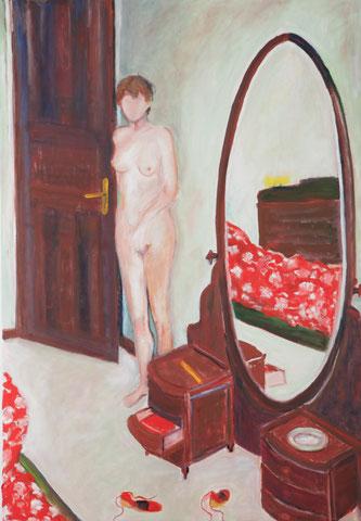 Das rote Bett, 2007, Öl/LW, 100x70 cm