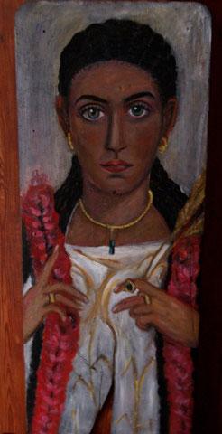 Isis-Priesterin,2010,  Öl/Holz 85x35 cm